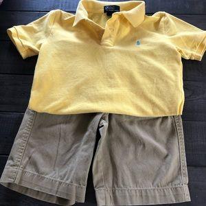 Ralph Lauren dress shirt & Cherokee khaki shorts.